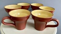 6 Vietri Cucina Fresca Coffee Mugs in Red Yellow Made in Italy