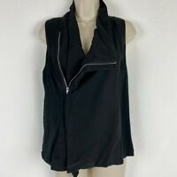 Pixley Womens Size Medium Black Full Zip Asymmetrical Tank Top