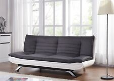Fabirc Sofabed 3 Seater Charcoal and White Fabric Faux Leather Sofa Bed