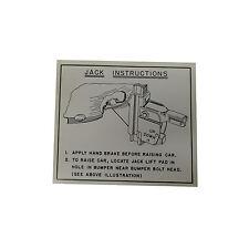 1949 1950 1951 1952 1953 Oldsmobile Jack Instructions Tag