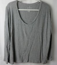 American Eagle Soft & Sexy Ribbed T Shirt Cropped Long Sleeve Gray Size L  #7242
