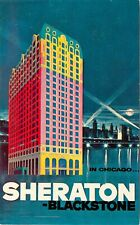 Mid-Century Advertising Art Postcard Sheraton Blackstone Hotel Chicago Colorful!