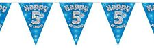 Blue Holographic Happy 5th Birthday Flag Bunting Decoration 12.8ft Long - New