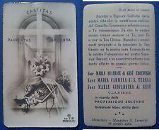 Santino Holy Card 1962 Montefalco: Ricordo della profes. solenne Mons. A. Balsi