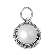 Mabe Pearl Pendant Sterling Silver 925 Created Stone Jewelry Gift 20 mm