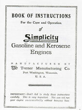 Simplicity Gas Engine Motor Operating Instruction Manual Book Hit Miss Flywheel