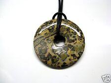 Edelsteine Anhänger Kette Natur Jaspis Leopardenjaspis Donut 45 cm beige braun