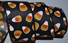 "Wired Ribbon~Halloween Candy Corn~Black~Orange~Yellow~2.5""~Fall~Treat~Wreath~Bow"
