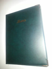 QTY 10 A4 MENU COVER/FOLDER GREEN LEATHER LOOK PVC - CLASSIC LOOK+GUILT CORNERS