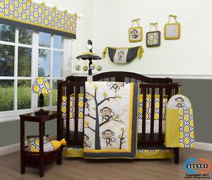 13PCS Monkey Go Happy Baby Nursery Crib Bedding Sets