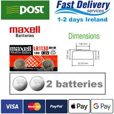 AG10 1.5V MAXELL Lithium Coin Button Battery 189,LR1130,LR54,SR1130W 2pcs