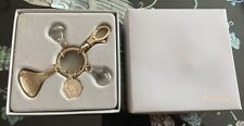 GUERLAIN Authentic Charms Silver Tone Keychain Key Ring Fob MIB