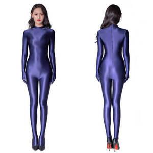 Women Shiny Satin Footed Jumpsuit Wetlook Catsuit Back Zipper Bodysuit w/ Gloves