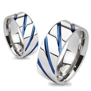 Solid Titanium Blue Diagonal Stripe Wedding Band Ring Size 5-13