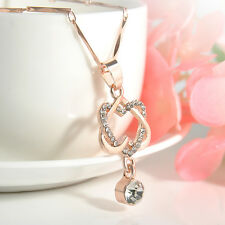 Fashion Women Double Heart Chain Necklace Gold/Silver Plated Pendant Jewelry New