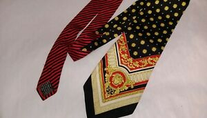 GIANNI VERSACE Rare Vintage 90s Silk Floral Greek Gold Red Medusa Baroque Tie