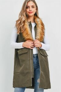 Olive Green Long Cardigan Vest Size Small Faux Fur Collar