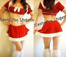 Sexy Christmas Santa Claus Womens Adult Halloween Costume Dress 5Pc Set S M
