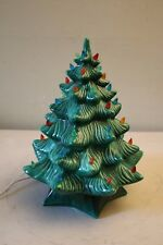 Vintage Holland Mold Green Ceramic Christmas Tree W/ Base & Multi-Colored Lights