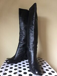 FITZWELL Leather BOOTS Size: 10.5 Wide (US) SHIP FREE Black Wedge