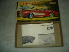 VINTAGE AURORA 1/32 SCALE CORVETTE MODEL KIT ORIGINAL 1962 BOX + INSTRUCTIONS