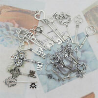 20PCS Assorted Alloy Silver Retro Keys Pendant Charms Jewelry DIY Accessories