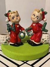 1950's Vintage Noel Christmas Candle Holders Figurines Japan Commodore Label