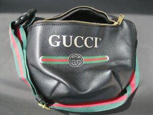 Gucci Black Logo Printed Leather Large Fanny Pack Waist Belt Bag