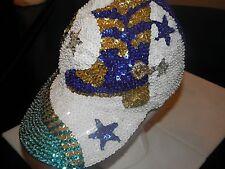 SEQUIN BASEBALL CAP DALLAS COWBOYS COLORS ADORABLE LADIES FOOTBALL GAME CAP !