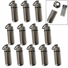 48 Pack Aluminum Pill Shape Case Keychain ID Holder Pet Ashes Urn Silver Metal