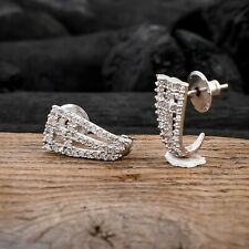 White CZ Hollow Stud Earrings Women Half Hoop Earring Jewelry For Valentine Gift
