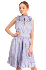 RRP €430 ALEXIS Poplin Flounce Dress Size M Striped Belted Ruffled Halterneck