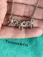 Tiffany & Co Sterling Silver 18Ct 18K Gold Triple 3 Bow Ribbon Pendant Necklace