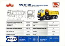 MAZ 551633 2003 catalogue brochure rare tcheque camion truck