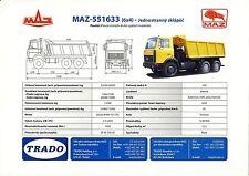 MAZ 551633 2003 catalogue brochure rare tcheque camion truck