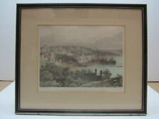 More details for rare vintage lithographic print - view of the town of st pierre from fort george