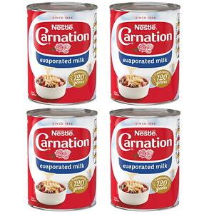 Nestle Carnation Milk Evaporated Topping Desert Tin Long Exp Date 4 x 410g