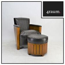 """Hocker """"Alfred"""" für Club Sessel Lounge Designer Art Deco Leder Chair Cigar 20er"""