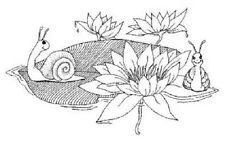 CREATIVE IMAGES RUBBER STAMPS CISTAMPS WATER LILY SNAILS STAMP