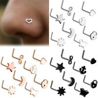 8PCS Surgical Steel Small Thin Love Star Screw Nose Stud Ring Piercing Jewelry