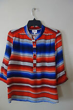 PARKER 3/4 SLEEVES STRIPED SILK TOP SIZE S NWT