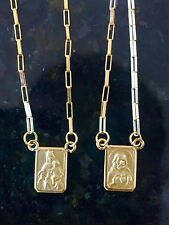 18k Gold Scapular Catholic Double Sided Strong Chain 3,6 grams