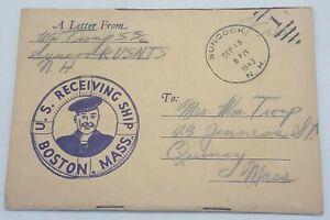 1943 World War 2 WWII US Receiving Ship  Boston Massachusetts Postcard / Booklet
