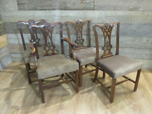 SET OF 4  ANTIQUE 1900'S MAHOGANY CHIPPENDALE STRAIGHT LEG DINING CHAIRS
