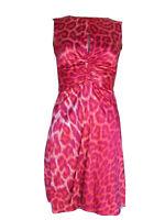 Size 40 4 JUST CAVALLI ROBERTO Red Pink Satin Animal Print Stretch Sheath Dress
