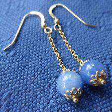 NWT 22ct GOLD on silver blue aventurine bead chain dangle pierced earrings K82