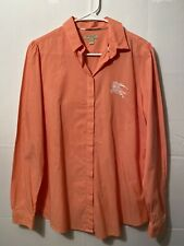 Burberry Brit Button Down Top Pinstripe Orange White Big Logo Women's Large