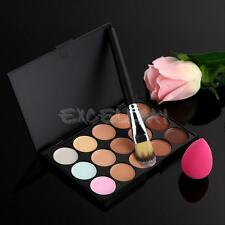 15 Colors Makeup Contour Face Cream Concealer Palette +Powder Brush +Sponge Puff