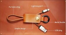Aokin Leather Key Chain USB charger/Data Cable for all iPhone/Android phones