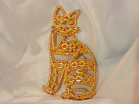 VERY FAB XX LARGE Cat Vintage 1960's Gold Tone AJC Signed Unique Brooch 115my7